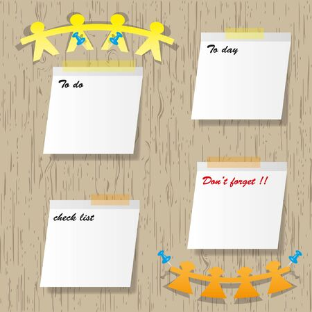 Sticky pads and mark message. Vector
