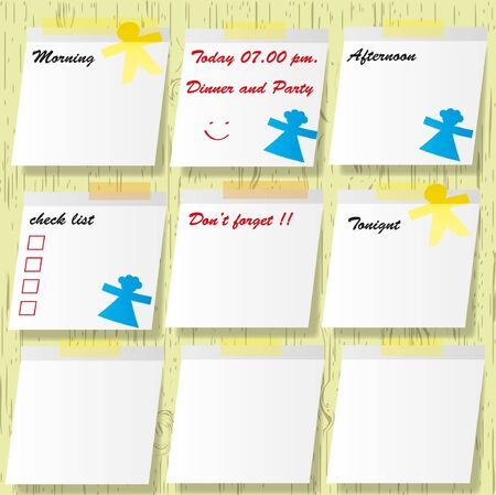 Sticky pads and important short note message with mark. Vector