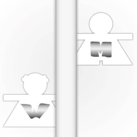 closet communication: Pattern icon for work by concept men and women. Illustration