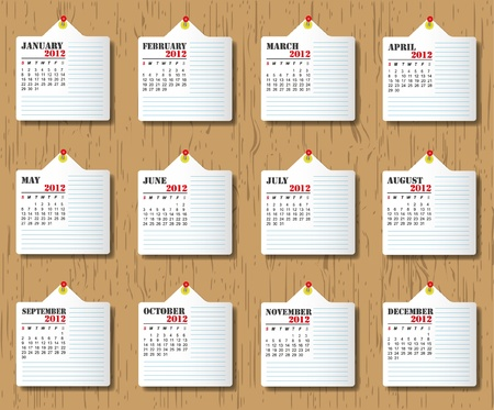 Calendar 2012 on wooden backgrounds. Vector