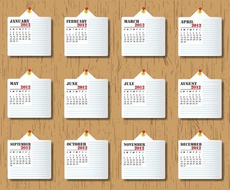 Calendar 2012 on wooden backgrounds.