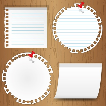 sticky note with pin on wooden backgrounds Vector