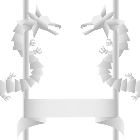 The Dragon pattern by Origami. Vector