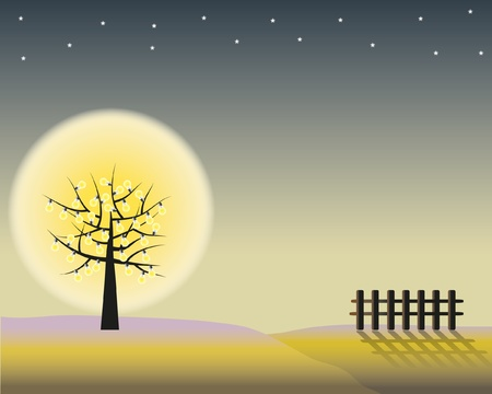 Power of the dark night by concept tree lamp luminosity landscape . Stock Vector - 11804415