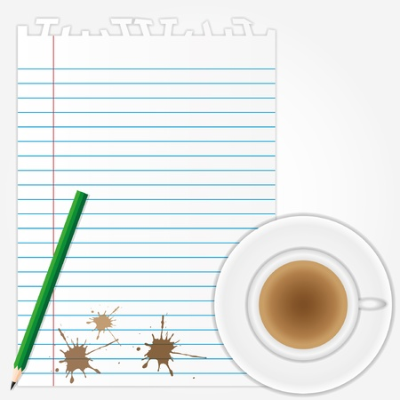 coffee stains on blank paper sheet with pencil.