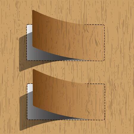 corner tab: New paper sheet wooden pattern. Illustration