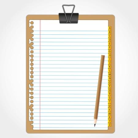Hout karton en papier blad met potlood. Stockfoto - 11804423