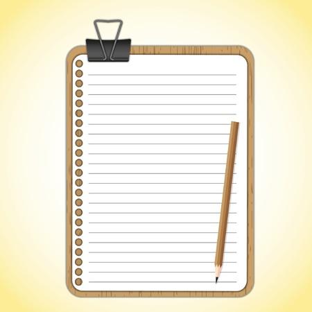 planche: Planche de bois et de feuille de papier avec clip de papier noir.