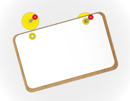 note board: Blank paper sheet on wooden board.