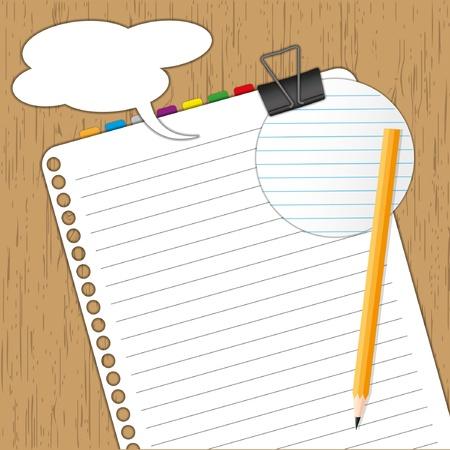 planche: Nouvelle feuille de papier et le pad avec un crayon sur planche de bois. Illustration