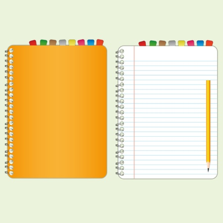 notebook: Orange cover  and new paper sheet.