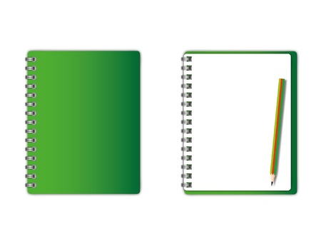 spiral binding: New green cover and blank page with pencil.