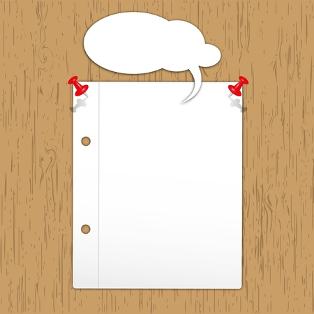 notebook paper: New page with pin on wooden board.