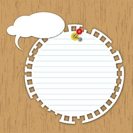 Nieuwe cirkel pad met pen op een houten bord.