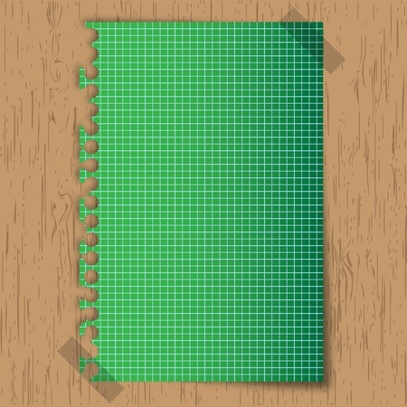 New sticky green paper graph on wooden board. Vector