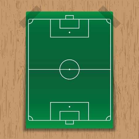 soccer field on wooden backgrounds.