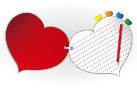 연인 종이 패드 및 빨간색 연필.