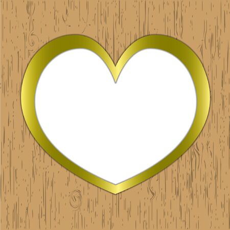 Heart pattern wooden frame gold border. Vector