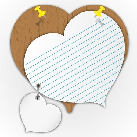 핀 나무 보드에 스티커 패드 하트 무늬.