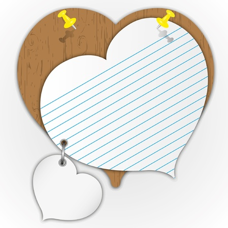 notebook paper: Sticky pad heart pattern on wooden board with pin.