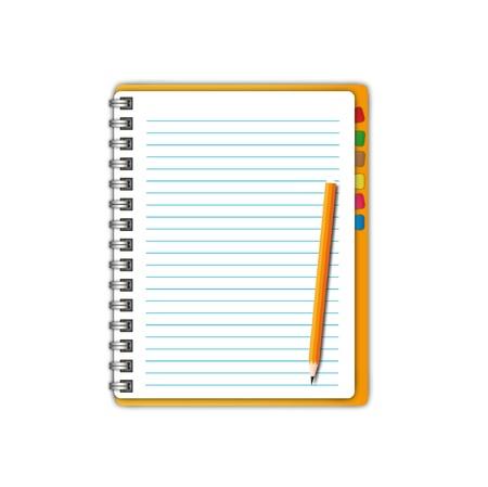 Nieuw geopende pagina met potlood en bladwijzers. Stockfoto - 11872917
