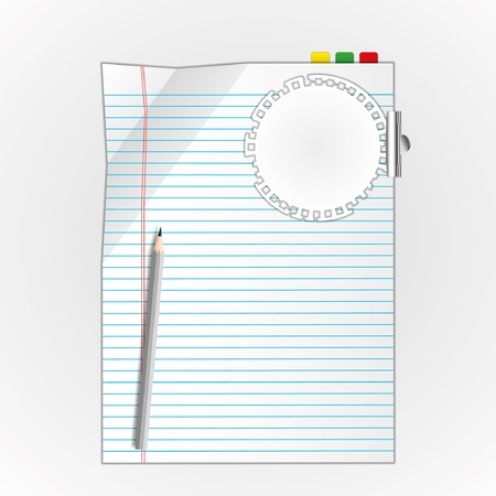 memorize: New page and circle pad with pencil. Illustration