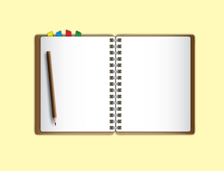 Open page notebook and pencil. Vector