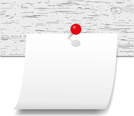 White note paper with red push pin on wood board. Vector