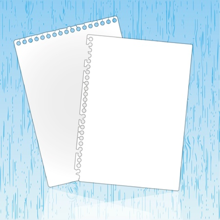New page sheet on wooden backgrounds. Stock Illustratie
