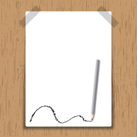 Sticky paper page on wooden board. Vector