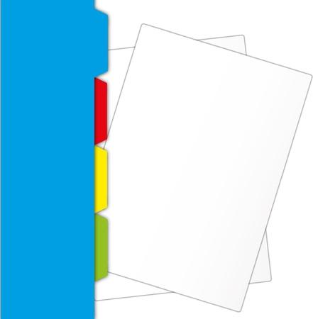 spiral notebook: New paper sheet   protrude from blue folder. Illustration