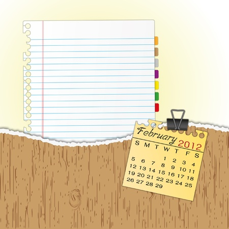 New paper sheet in rip wood folder and hold  2012 calendar February by paper clip.
