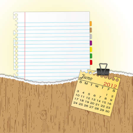 New paper sheet in rip wood folder and hold  2012 calendar June by paper clip.