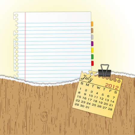 New paper sheet in rip wood folder and hold  2012 calendar July by paper clip. Illustration