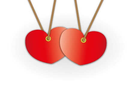 dangle: Couple red heart pattern advertise for label price tag and bundle keys.