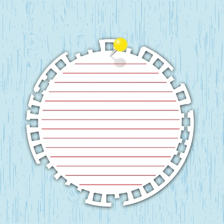 Circle pad with yellow pin on wood board. Stock Illustratie