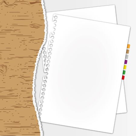 Document paper out of torn wood folder. Vector