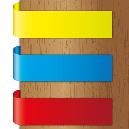 Advertise tri colors brochure and label on wood backgrounds.