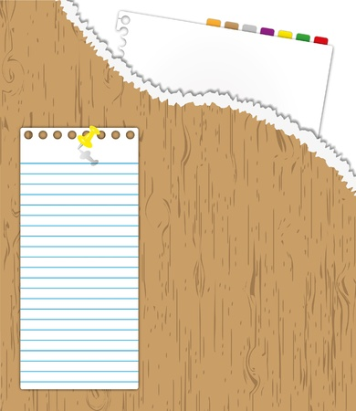 notebook paper background: New paper page in wood torn folder and pad note with pin. Illustration