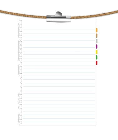 Nieuw vel papier vasthouden door paperclip met touw. Stockfoto - 11962605