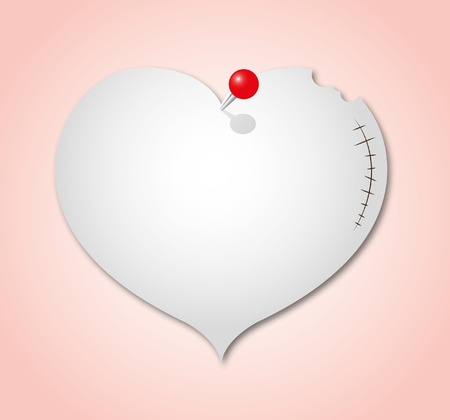 The broken heart paper note with red pin. Vector