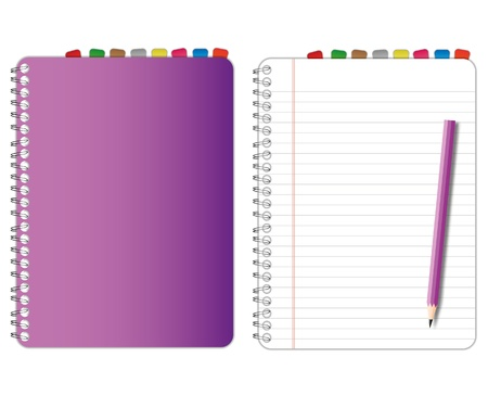 New paper page and purple cover notebook. Stock Illustratie