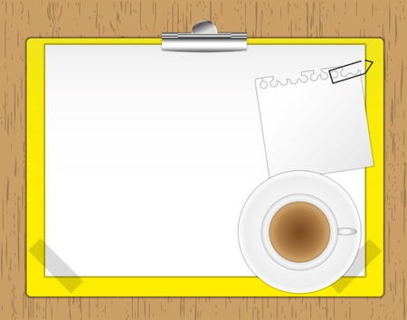 New paper note and coffee on clipboard. Vector