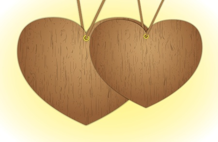 Wooden hearts hang for valentines day. Vector