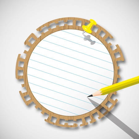 paper pin: Sticky circle note paper with pencil and pin push.