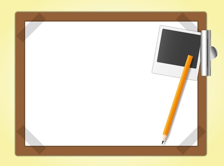 memo pad: Drawing board and the master photo with pencil.