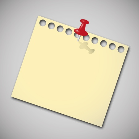 memo board: Note paper with red pin. Illustration