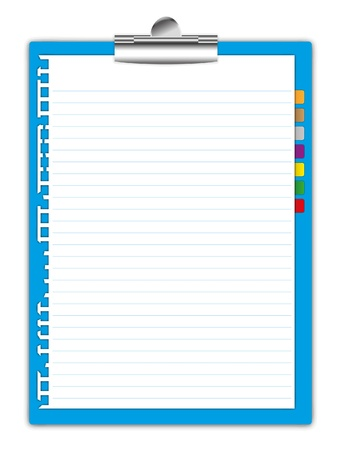 New paper and bookmark holding by clipboard.
