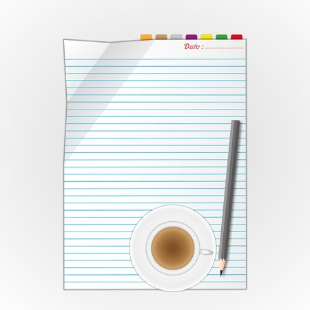 New paper sheet and pencil with coffee. Stock Illustratie