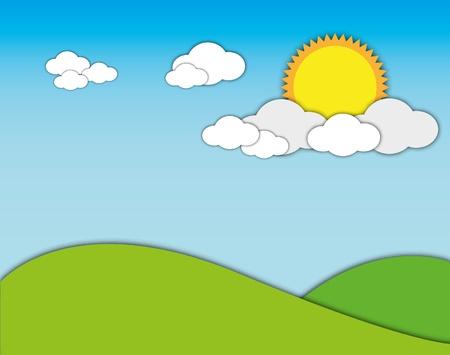 좋은 날 햇빛 푸른 하늘 산 풍경입니다. 일러스트